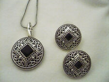 Antiqued silver tone round pendant necklace & earrings square facted black stone