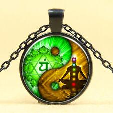 Wholesale Cabochon Glass Black  Chain Pendant Necklace,Yin Yang seven chakras OM