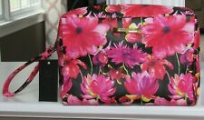 STEVE MADDEN Floral Large Double Zip Cosmetic Make-up Wristlet Bag NWT $42