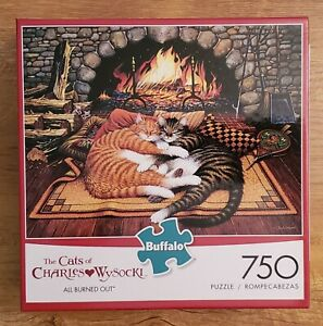 Buffalo Games Cats of Charles Wysocki - All Burned Out 750 Pc Puzzle Pre-Owned
