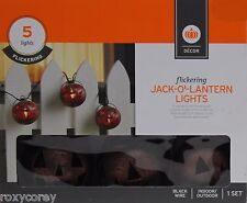 Halloween 5 Orange Flickering Copper Pumpkin Jack O Lantern Light Indoor/Outdoor