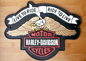Harley Davidson Motorcycle Sign Large Repro 'Live To Ride'