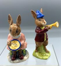 """Royal Doulton Bunnykins Figurines, Db11 """"Rise & Shine"""" and Db2 """"Helping Mother"""""""