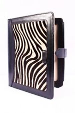 LUXURY iPAD 2, 3 & 4 BLACK CASE AND STAND REAL LEATHER WITH ZEBRA SKIN FUR COVER