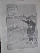 A Dangerous Spot by Dudley Hardy 1902 cartoon print ref W2