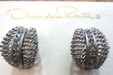 Silver-Tone Twisted Wire Clip-On Earrings Oscar De La Renta Rhinestone And