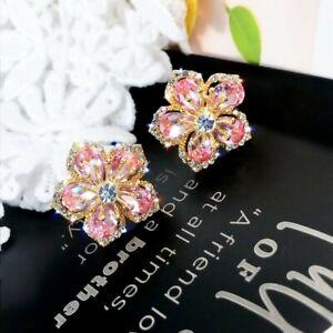 925 Silver White Sapphire Dangle Earrings Stud Charm Women Wedding Jewelry New