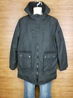 Slate & Stone Black Full Zip Hooded Parka Jacket Mens Size XL EUC