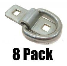 "(8) 3/8"" STEEL D RINGS & BRACKETS TIE DOWN Rope for Flatbed Trailer Camper RV"
