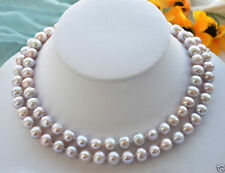New long 2Fashion Women's 7-8mm Natural Purple Freshwater Cultured Pearl Necklac