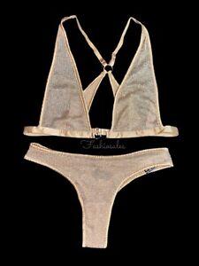 Victorias Secret LUXE Unlined Triangle Metallic Gold Mesh Bralette