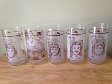 Lot of 5 Quebec Nordiques Hockey Player Glasses A & W Root Beer