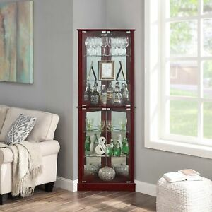 Woody Lighted Corner Curio Cabinet Tempered Glass Door 6 Shelves, 2 Colors