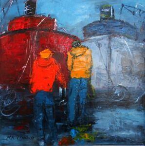 PEINTURE TABLEAU marine bateaux cargos acrylique s/toile signé TINOCO coté AKOUN