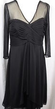 Alex Evenings Womens Black Shear Bodice Sleeves Formal Long Sleeve Dress 8P