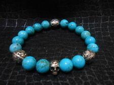 Turquoise Day of the Dead Skull Bracelet Baby Chrome King