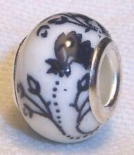Navy Blue White Flowers Ceramic Spacer Bead for Silver European Charm Bracelets