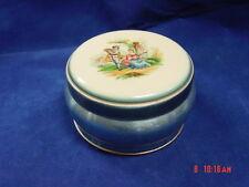 Vintage Brushed Aluminum Powder Tin Blue English Couple Vanity EMPTY No Puff