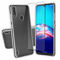 SDTEK Case for Motorola Moto E6s + Full Screen Glass Protector Clear Cover Gel