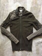 Diesel Men's Mix Texture Zip Wool Sweater Jacket Olive Small Very Good