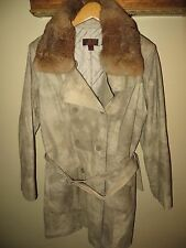RARE DANIER Womens Double Breasted Spy Safari Leather Jacket Rabbit Fur Coat 2XL