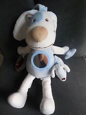 doudou peluche chien activité vibre miroir bleu blanc SUCRE D'ORGE 34cm