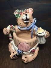 Blue Sky by Heather Goldminc Ceramic Baby Bear Trinket Holder 2001 Christmas