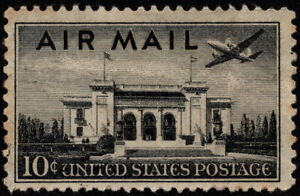 US - 1947 - 10 Cents Black Pan American Building Airmail Issue #C34 Light Cancel