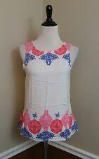 NWT Modcloth Sleeveless Top XS Ivory Pink Coral Blue Vero Moda Laci Boho Chic