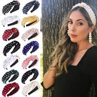 Women's Pearl Knotted Headband Hairband Twist Girls Wide Hair Hoop  Accessories