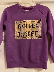 Mini Boden Sweatshirt Roald Dahl Golden Ticket Willy Wonka Purple Girls Size 6-7