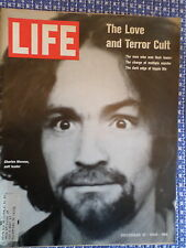 Life Magazine Charles Manson The Love and Cult Leader Dec 19,1969 cover/ article