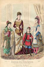 """1/ GRAVURE DE MODE """"  JOURNAL des DEMOISELLES """" 1878 SUPERBES COULEURS !"""