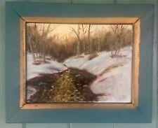 Gorgeous Vintage Oil Painting Woodland Stream At Dusk Winter Landscape Frmd