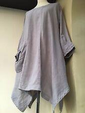 Tunic Top Dress Grizas Linen Oversized XS 10 12 14 16 Grey Arty Quirky Lagenlook