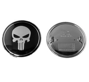1pc 74mm Black Punisher Skull Skeleton Rear Trunk Boot Badge Emblem Decal Logo