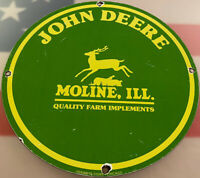 VINTAGE JOHN DEERE TRACTOR PORCELAIN SIGN FARM OIL GAS STATION IH CAT CHEVY FORD