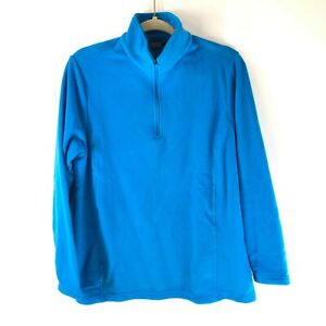 Lands End Womens Fleece Pullover 1/4 Zip Long Sleeve Mock Neck Blue Size M