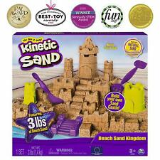 Kinetic Sand Beach Kingdom Playset 3lbs Castle Themed Molds Multi Use Tools Box