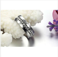Luxury Men's Clear Crystal Silver Stainless Steel Wedding Ring Size 7 8 9 10 11