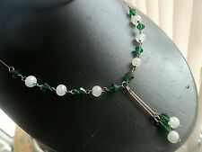 """Necklace 16"""" + Gold Filled Wire Sections Super Vintage Green & White Glass Bead"""