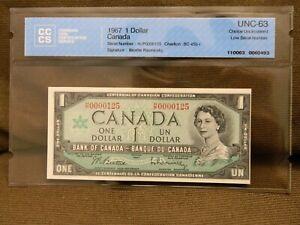 Canada 1$ 1967 RARE Low Number 125 CCCS UNC-63
