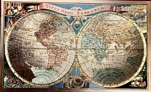 Double Hemisphere World Map 16th Century Gold Gilded Framed Full color