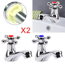 2X Cross Head Taps Twin Hot and Cold Traditional Bathroom Basin & Sink Chrome UK