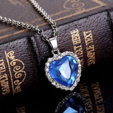 Sterling Silver Bermuda Blue Heart Necklace Made with CZ Crystal