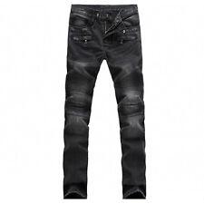 Stylish Men Moto Biker Straight Ripped Jeans Denim Pant Slim Skinny Trousers New
