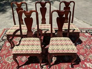 HICKORY CHAIR CO.  Mahogany Dining Chairs Set of 5  Queen Anne Formal Dining