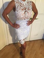 Connie's Mock Neck See thru Top Lined skirt White Lace Mini Dress in size S/M