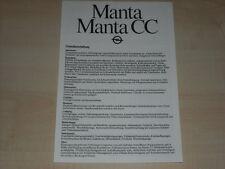 65840) Opel Manta B - technische Daten & Ausstattungen - Prospekt 08/1981