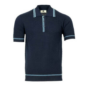 Art Gallery Fine Gauge Texture Knit Tipped Polo Navy